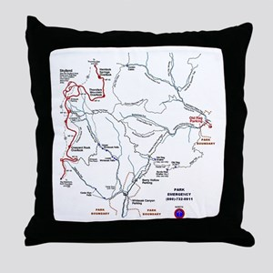 Old Rag Mountain trail map Throw Pillow